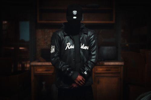 MP Male Las Vegas Raiders Satin Black Coaches Jacket + 9FIFTY Snapback