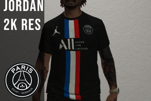 MP NIKE PARIS SAINT-GERMAIN 2020 JORDAN FOOTBALL JERSEY BLACK [Fivem Ready]
