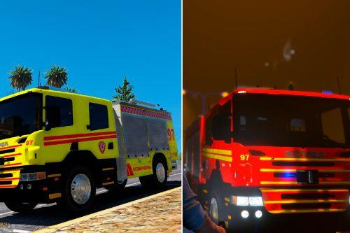 Norwegian Scania Firetruck Redningsbil (red & yellow)