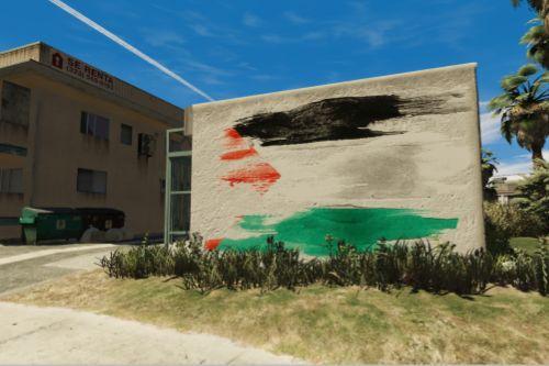 The flag of Palestine graffiti