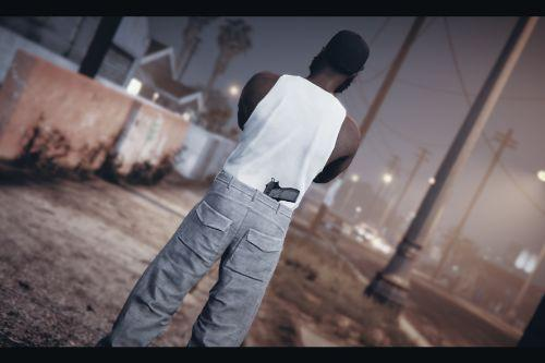 Pants with pistol behind the belt for MP male
