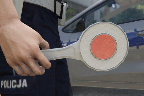 Polish police traffic paddle