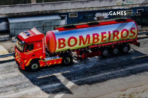 Portuguese Fire Department Volunteers Mercedes-Benz Actros Euro6 + Trailer Tanker [Add-On | Reflective | Extras | Livery]