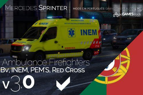 Portuguese Ambulance Firefighters, INEM, PEM'S, Red Cross - Mercedes Sprinter [Replace]