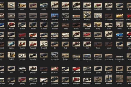 Preview Images for Add-On Vehicle Spawner v1.57 (All Base & Online Vehicles)