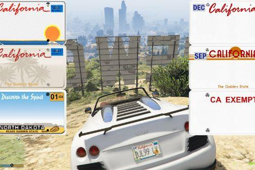 Real California & North Dakota License Plate Pack (High Res & New Textures)