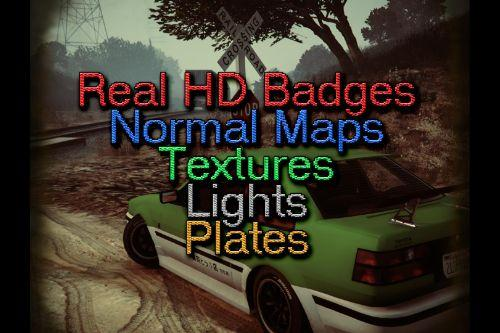 Real HD Badges, Normal Maps, Textures, Lights & Plates