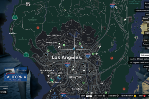 Real Los Angeles Pause menu Map (IOS Plans Style) + Lore-Friendly