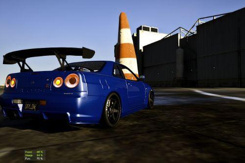 R34 Nissan Skyline GT-R Realistic Drag Handling 850HP AWD
