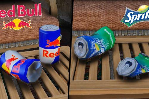 Red Bull and sprite can