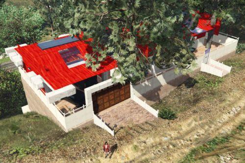 Red Hillside Home