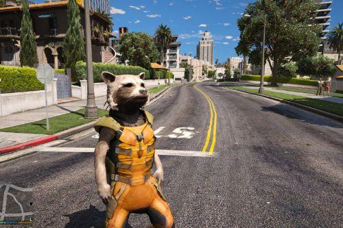 Rocket Raccoon from Guardians of the Galaxy - Big & smalls version [Add-On / Replace PED]