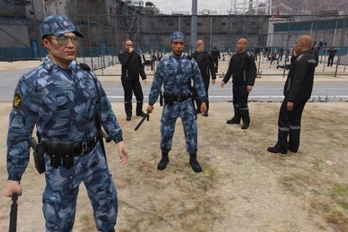 Russian Prison Guard and Prisoners