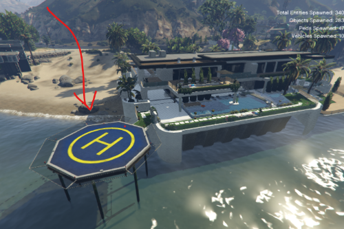 Cool upgrades to MALIBU MANSION (2 Helipads, a Dock, Security personnel at gate and driveway) [Menyoo/ .XML]