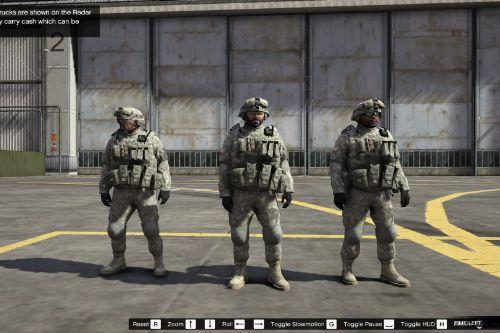 us army outfits for Franklin, Trevor and Michael