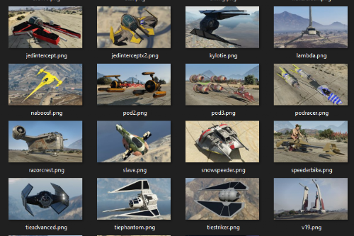 "Vehicle Previews Pack for ""kjb33's Star Wars Vehicles"""