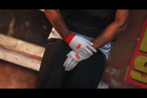 White Supreme Gloves for MP Male