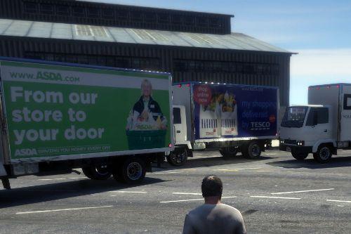 x6 UK delivery vans (Tesco, Asda, Sainsburys, DPD, Royal Mail & Ocado)