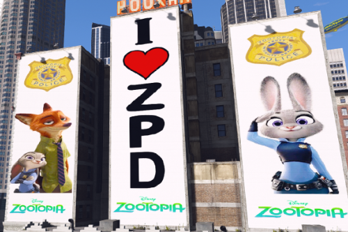 Zootopia Billboard in Downtown
