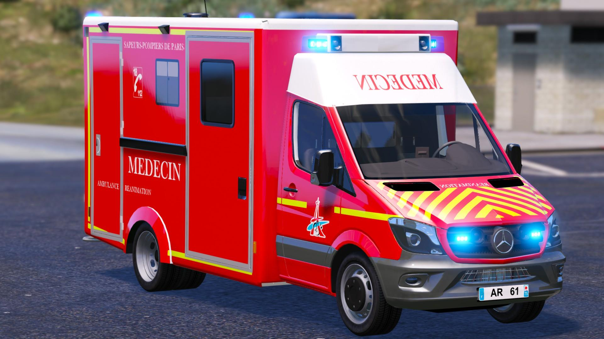 ar bspp pompiers french ambulance vsav gta5. Black Bedroom Furniture Sets. Home Design Ideas