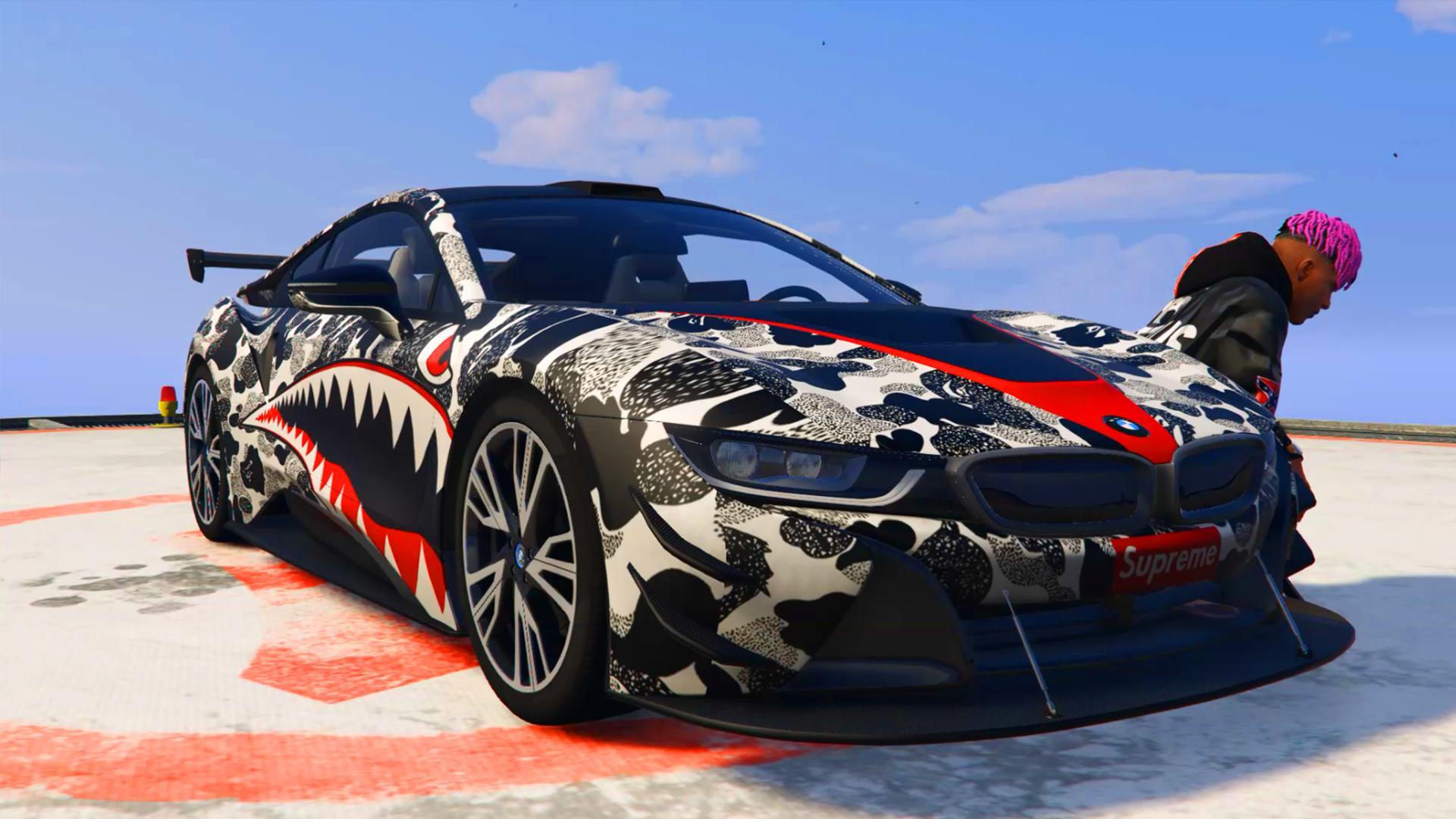 Bmw I8 Supreme Bape Shark Texture Hq Gta5 Mods Com