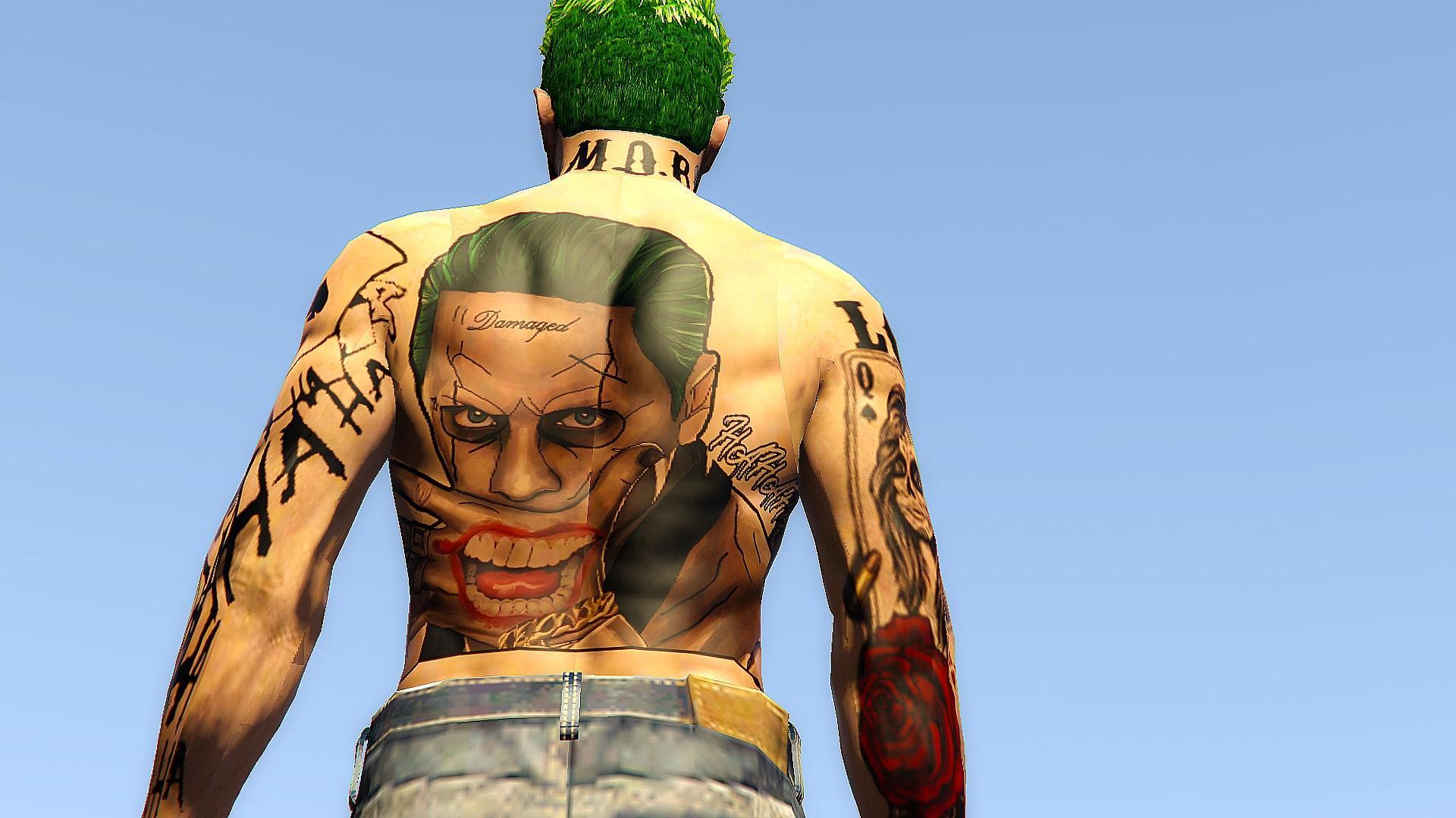 custom suicide squad joker art tattoo for mp male back. Black Bedroom Furniture Sets. Home Design Ideas