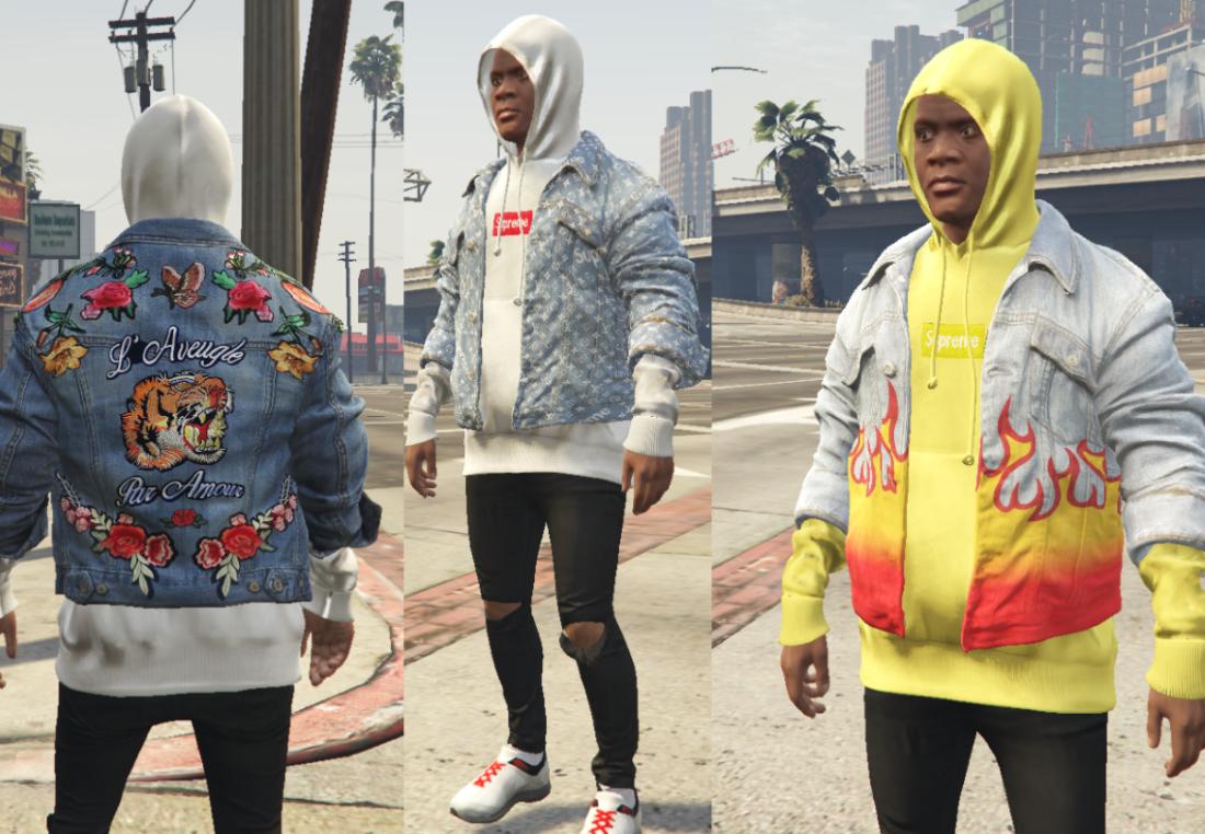 denim jacket and inside hoodie