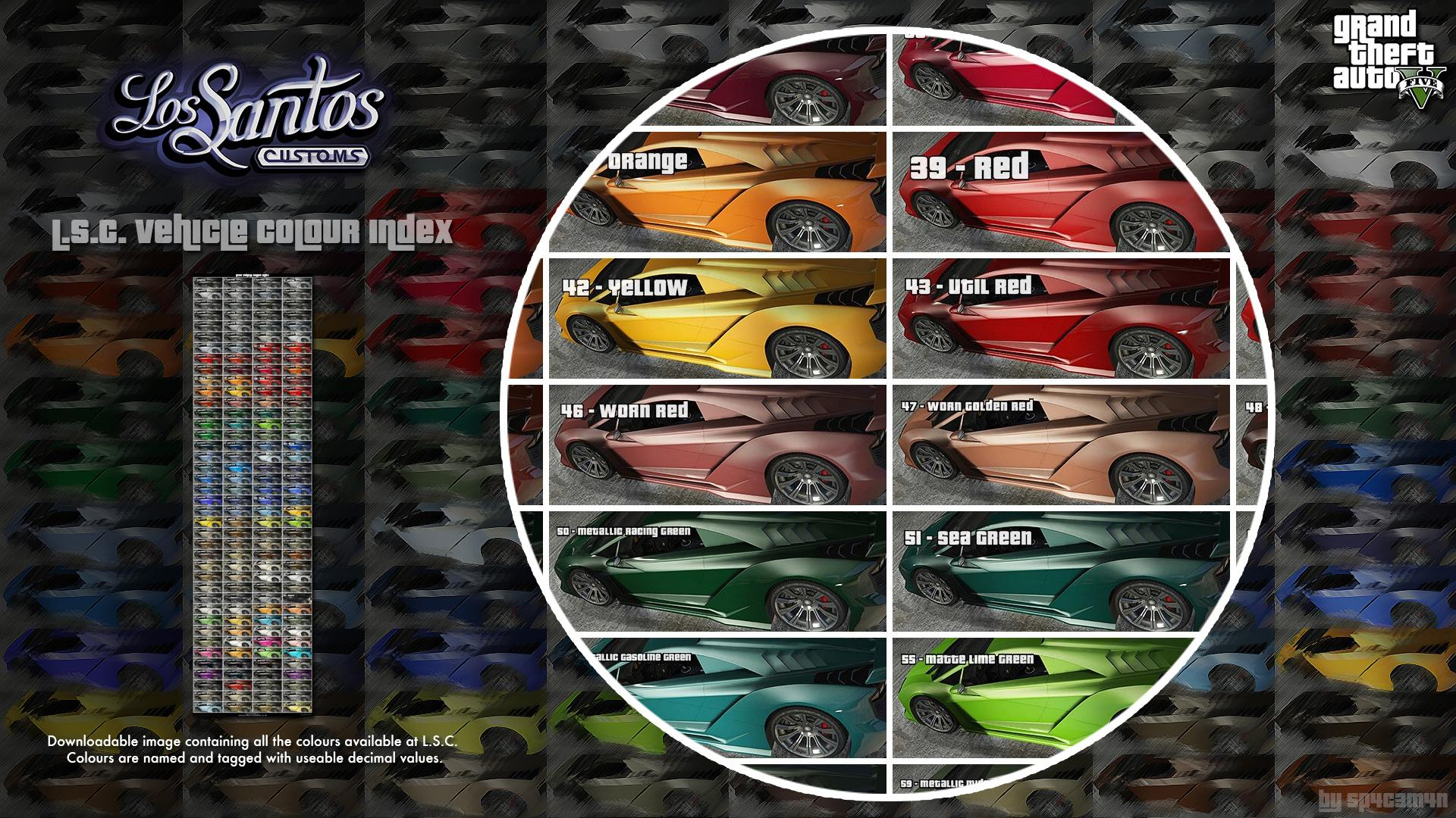 lsc vehicle colours index
