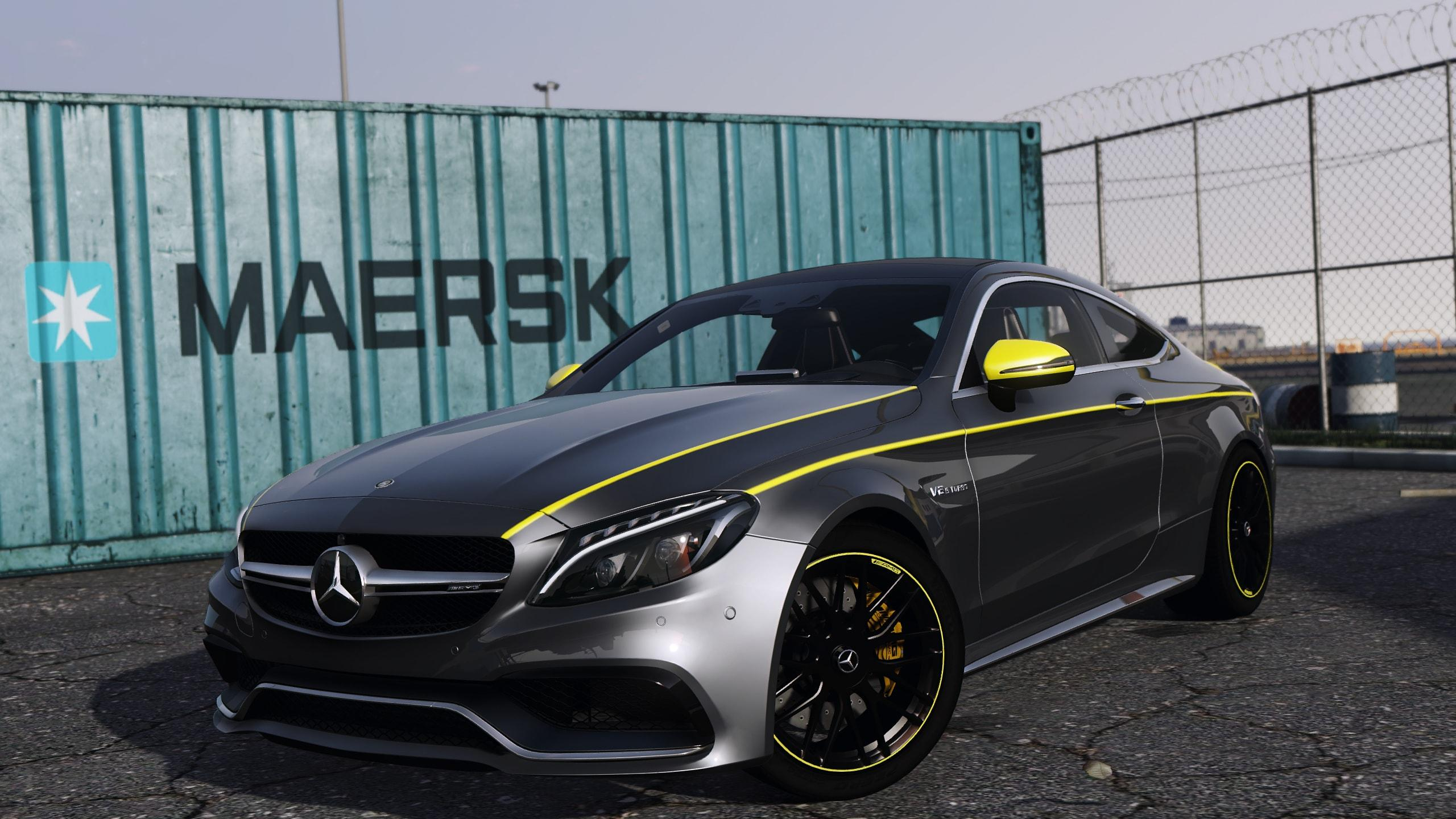 Mercedes Benz C63s Stripe Livery 4k Gta5