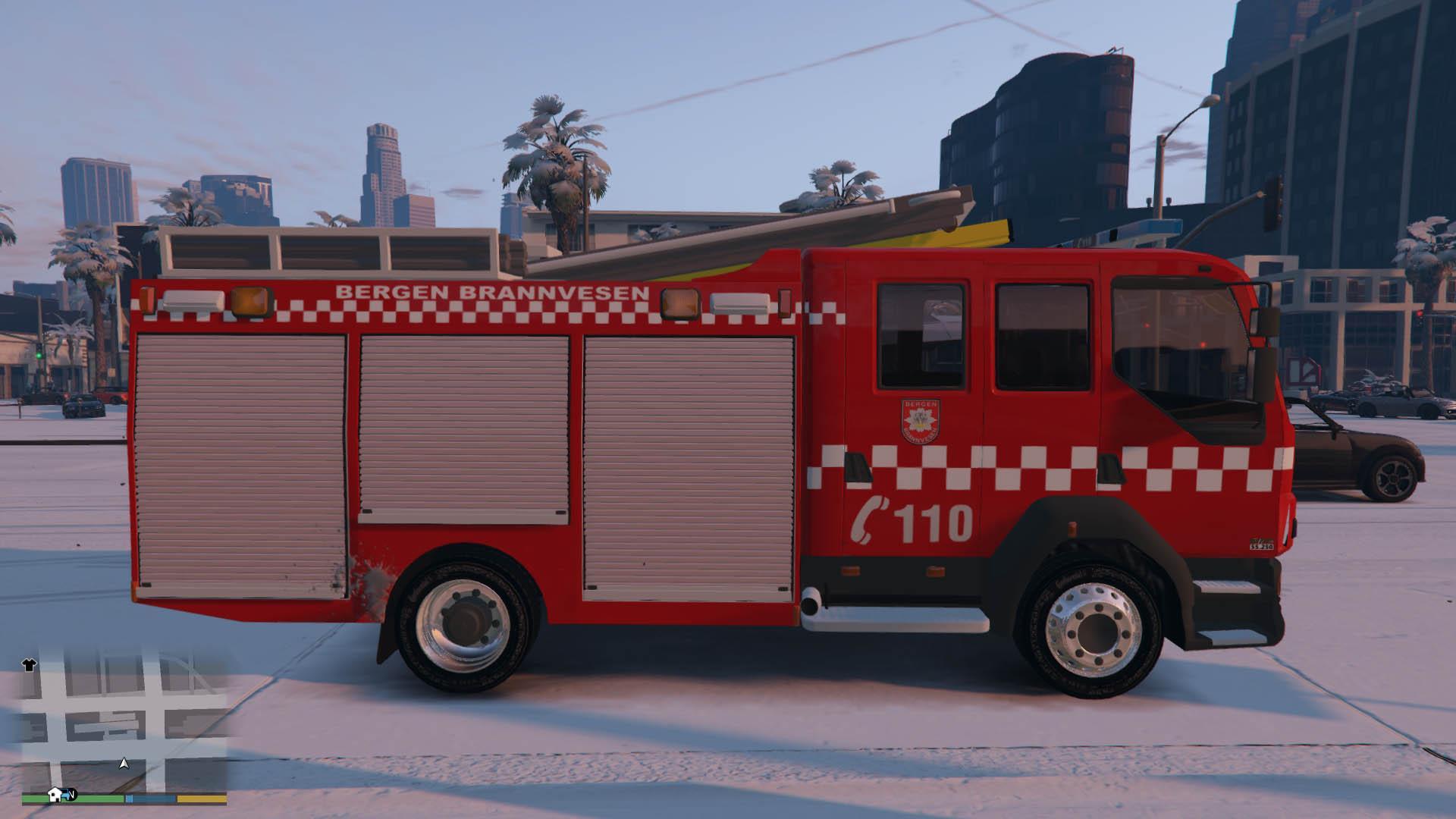 norwegian firetruck bergen brannvesen els gta5modscom