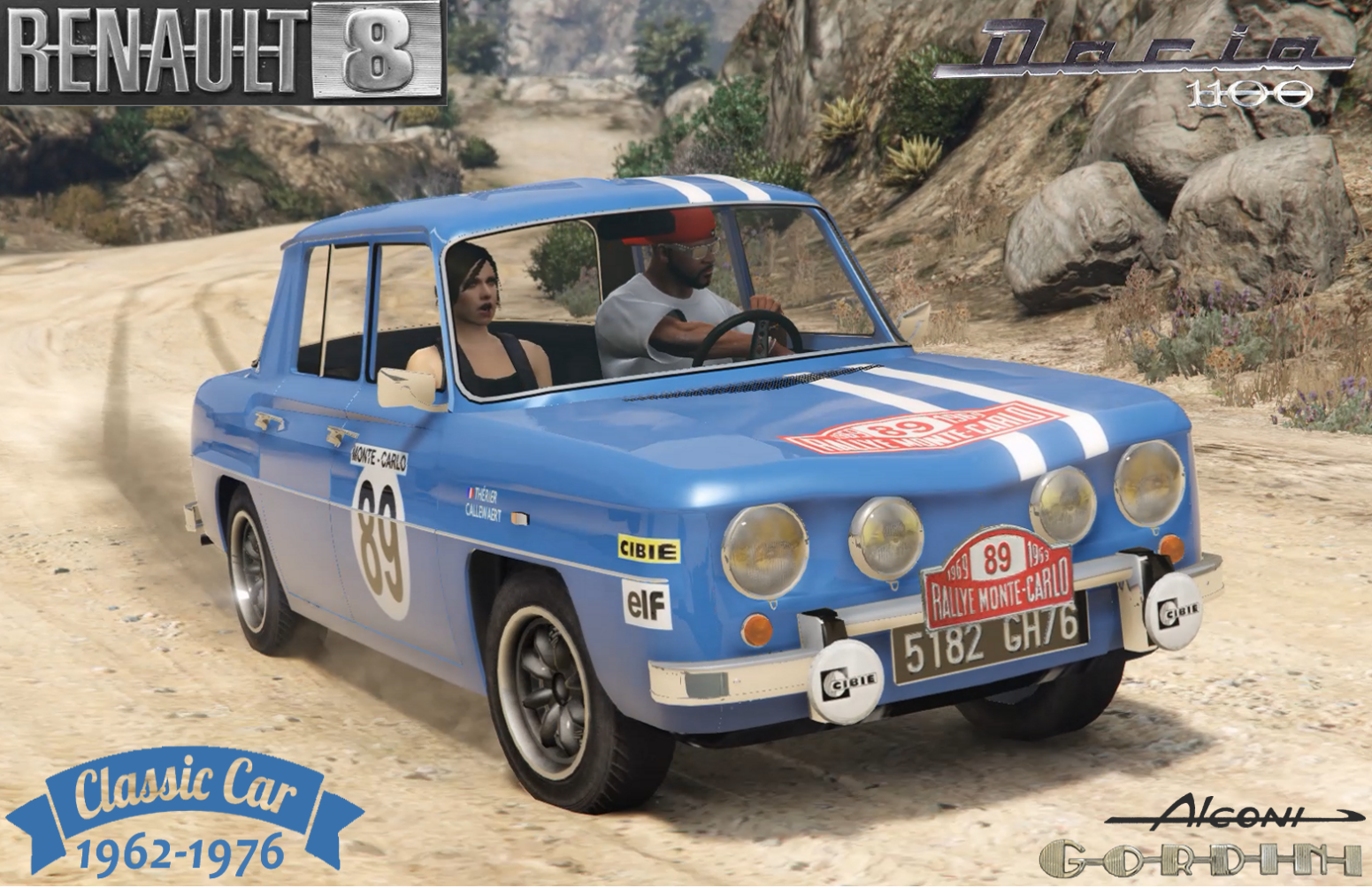 renault 8 gordini dacia 1100 add on and replace gta5. Black Bedroom Furniture Sets. Home Design Ideas