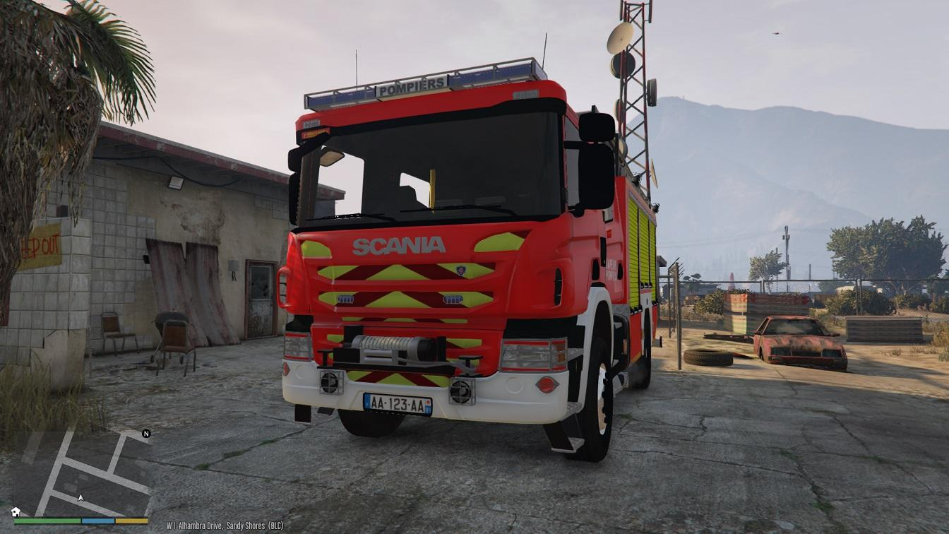 scania sapeurs pompiers france french fire truck gta5. Black Bedroom Furniture Sets. Home Design Ideas