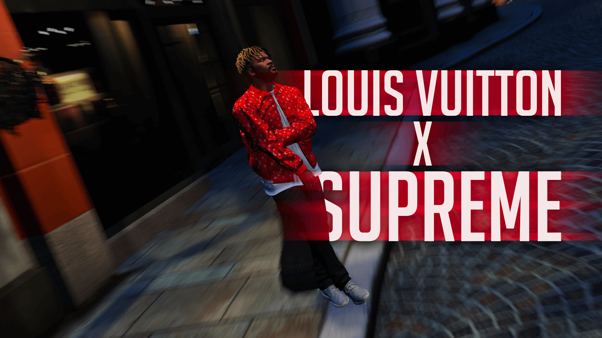 supreme x louis vuitton red white monogram jacket gta5. Black Bedroom Furniture Sets. Home Design Ideas