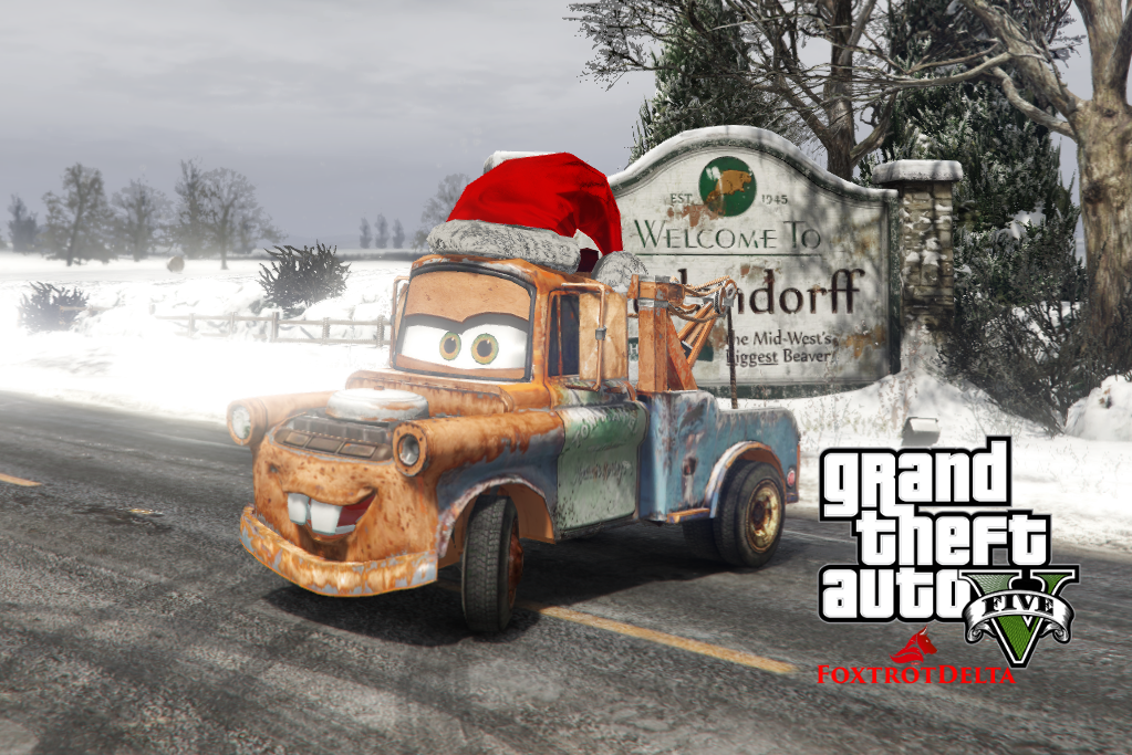 tow mater disney cars christmas add on replace hq gta5 mods com