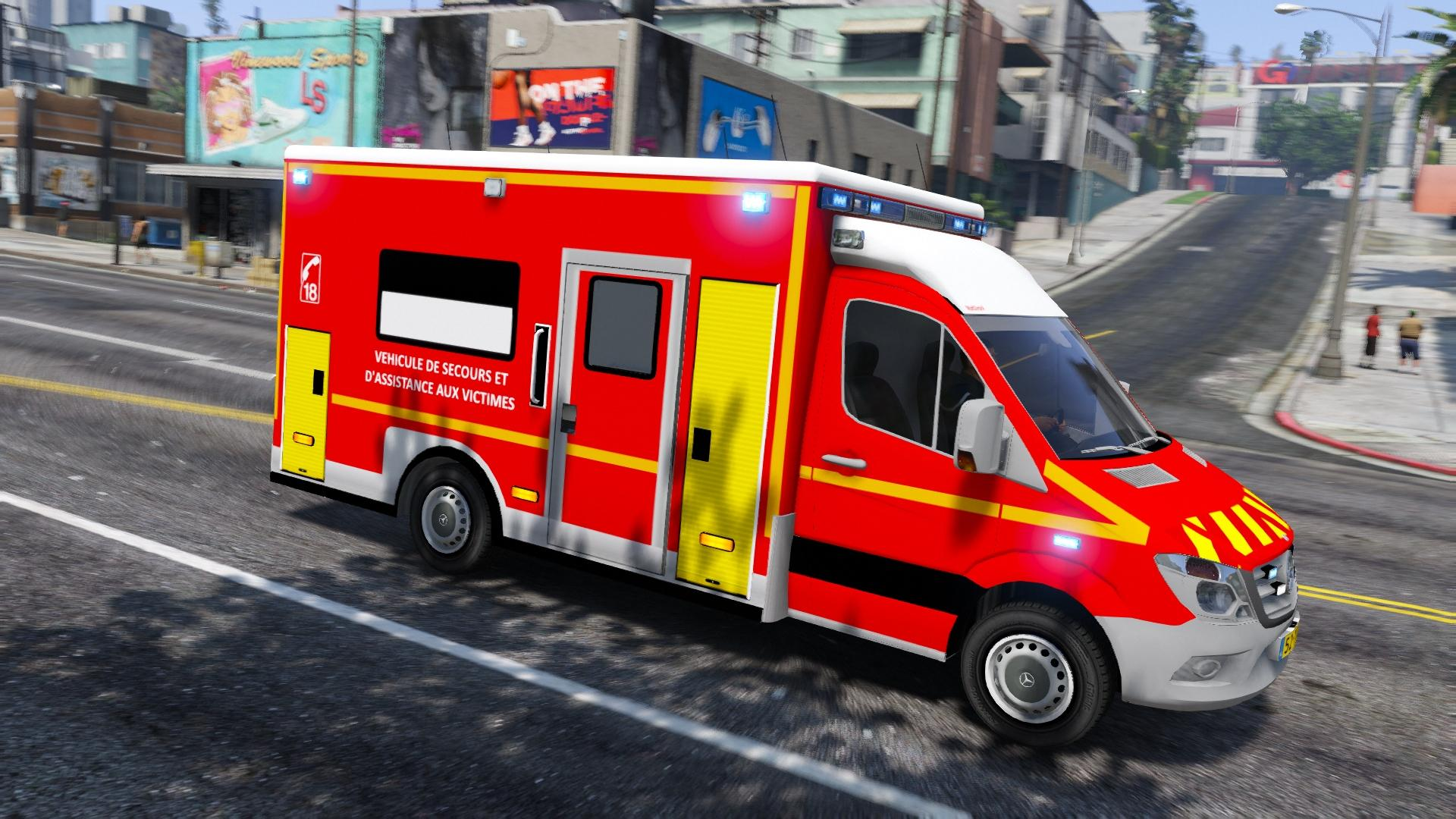 vsav cube sapeurs pompiers mercedes sprinter gta5. Black Bedroom Furniture Sets. Home Design Ideas