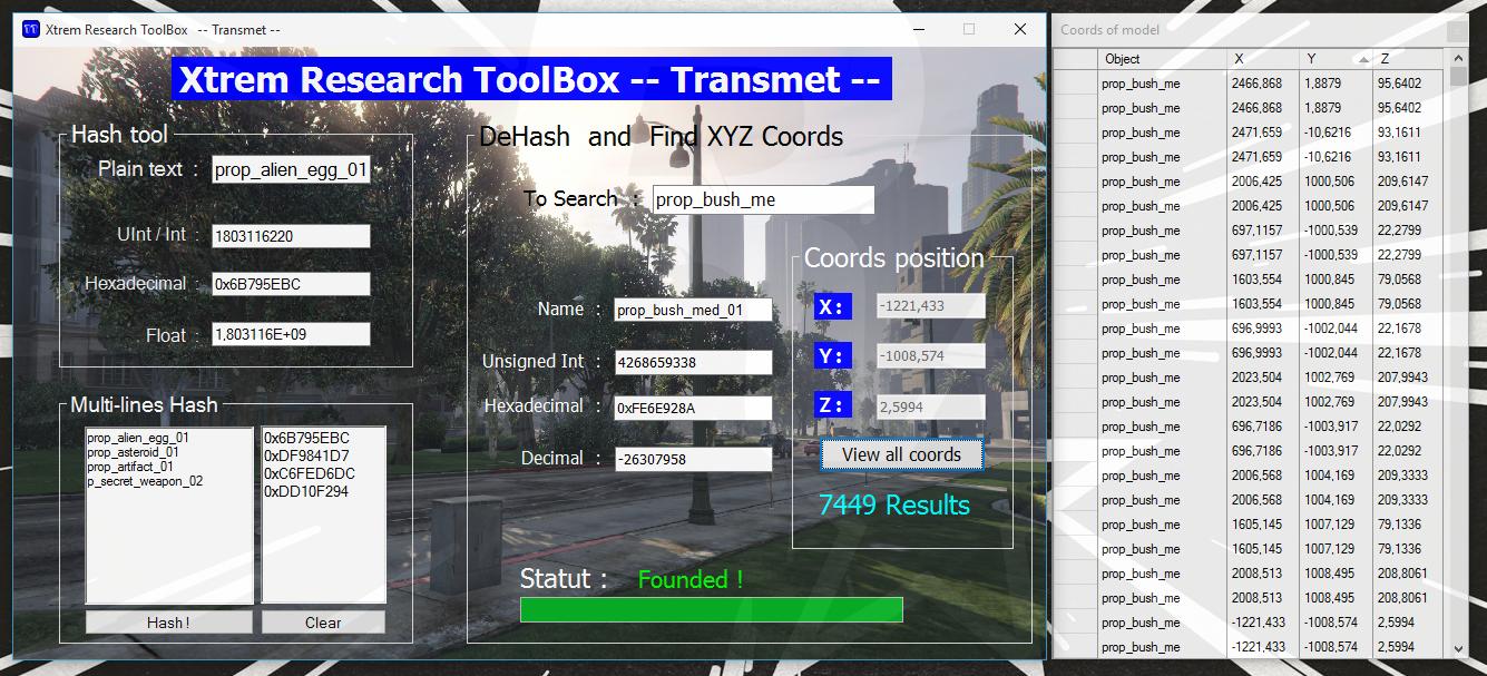 XtremToolBox -- Hash / DeHash / XYZ coords object - GTA5-Mods com