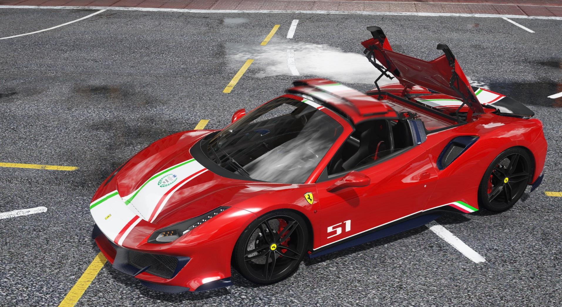 2019 Ferrari 488 Pista Spider Animated Roofadd Ontemplate