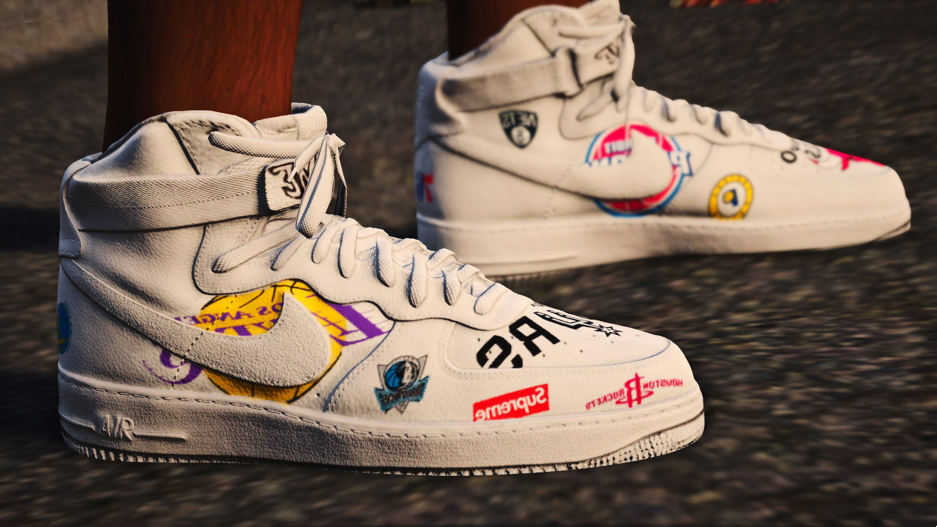 online retailer 678c9 e1745 air force 1 high supreme x nba (white and black) - GTA5-Mods.com