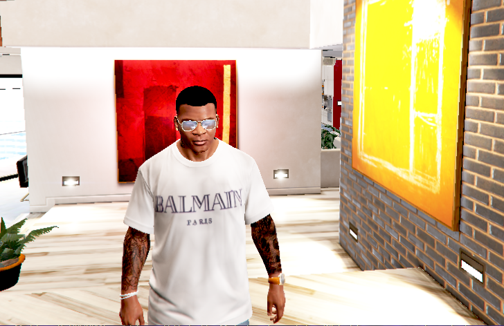 3e51c6bba Balmain T-Shirt (Black, White & Grey - GTA5-Mods.com