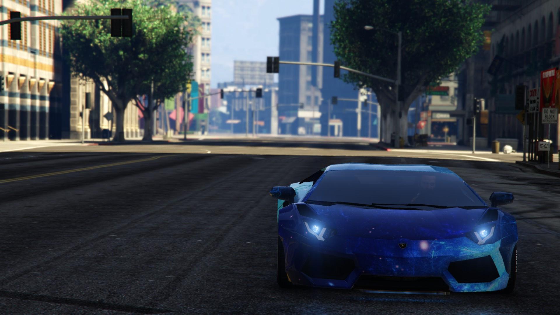 Blue Galaxy Livery For Lamborghini Aventador Liberty Walk Gta5