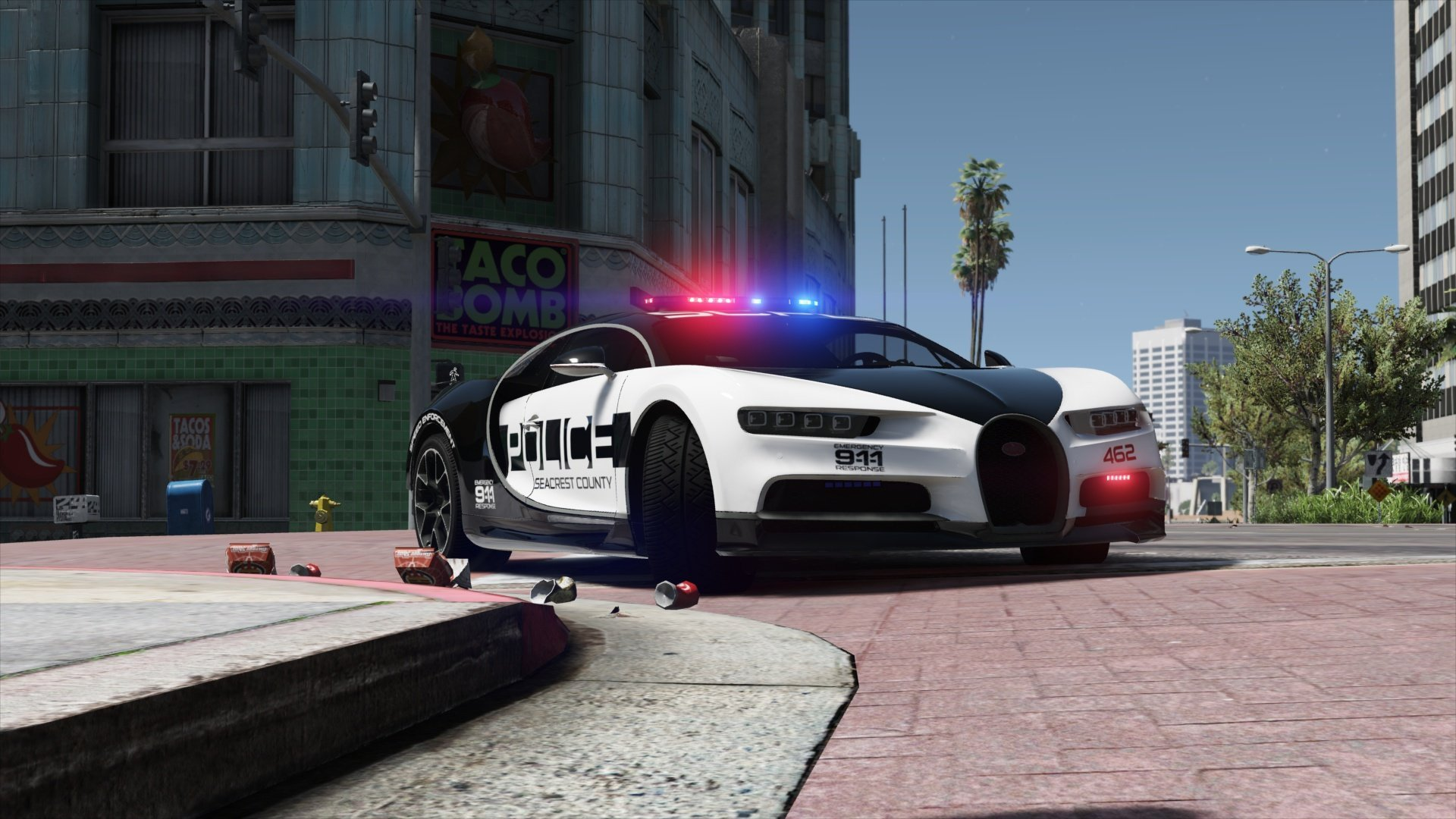 Bugatti Chiron | Hot Pursuit Police [Add-On / Replace | Template