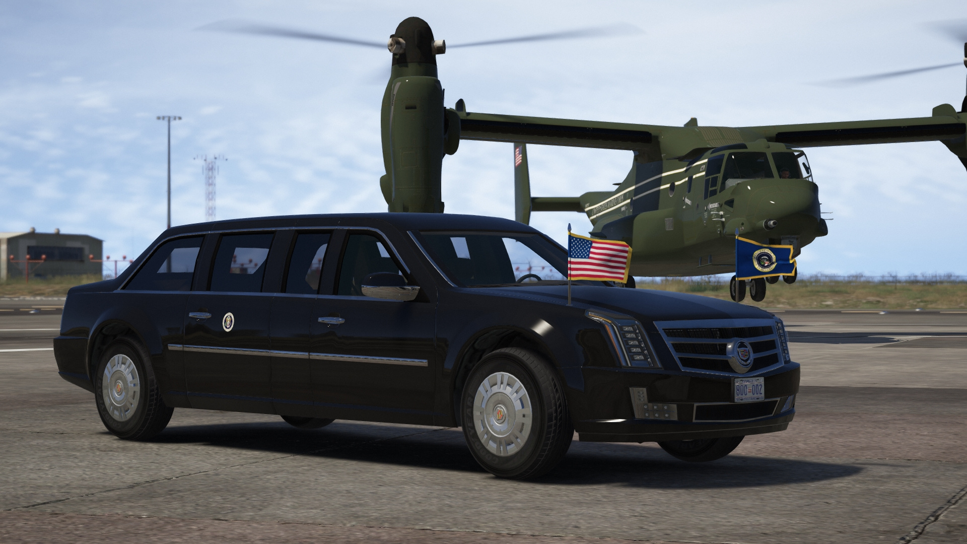 cadillac the beast presidential state car waving flags add on gta5. Black Bedroom Furniture Sets. Home Design Ideas
