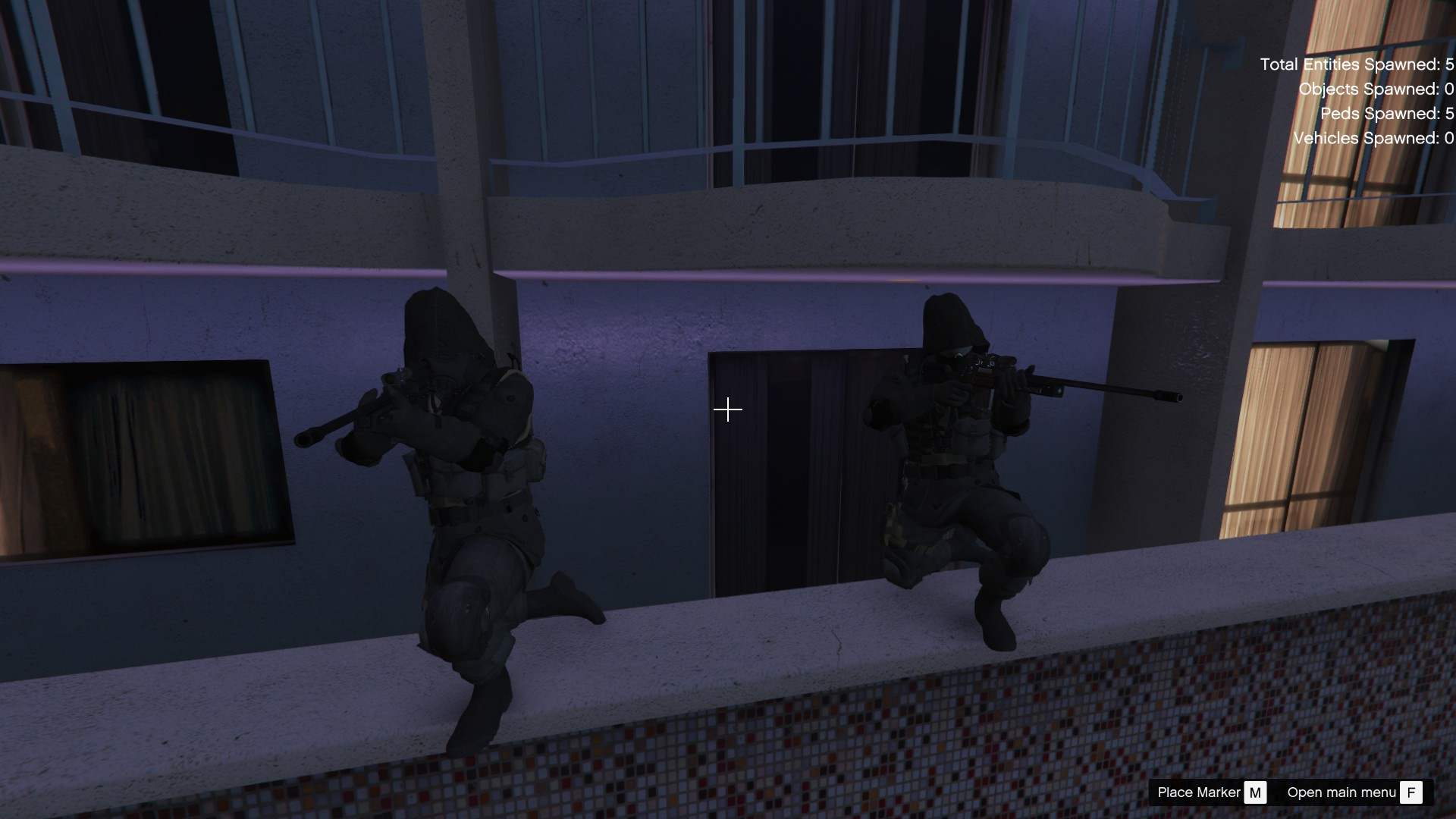 Call of Duty: Modern Warfare 2 is a first-person shooter video game. The player can perform several actions, including jump, sprint, crouch, lay prone, and aim down their gun's iron sights. When the player is shot by an enemy, blood will splatter their heads-up display (HUD), denoting that they have taken damage; if the player avoids gunfire by taking cover, then their health will recover.