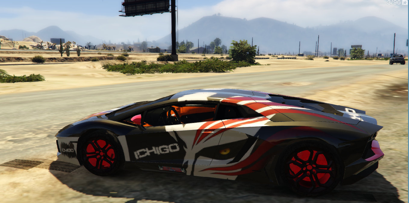 Lamborghini aventador paintjob itasha ichigo