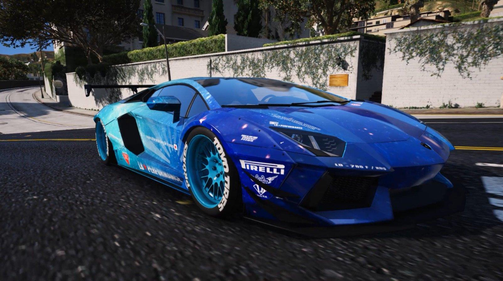 Liberty Walk Blue Galaxy For Lamborghini Aventador Gta5 Mods Com