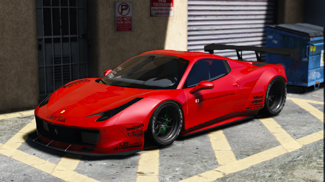 liberty walk ferrari 458 spider add on tuning livery gta5. Black Bedroom Furniture Sets. Home Design Ideas