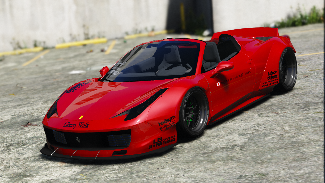 Liberty Walk Ferrari 458 Spider Add On Tuning Livery Gta5 Mods Com
