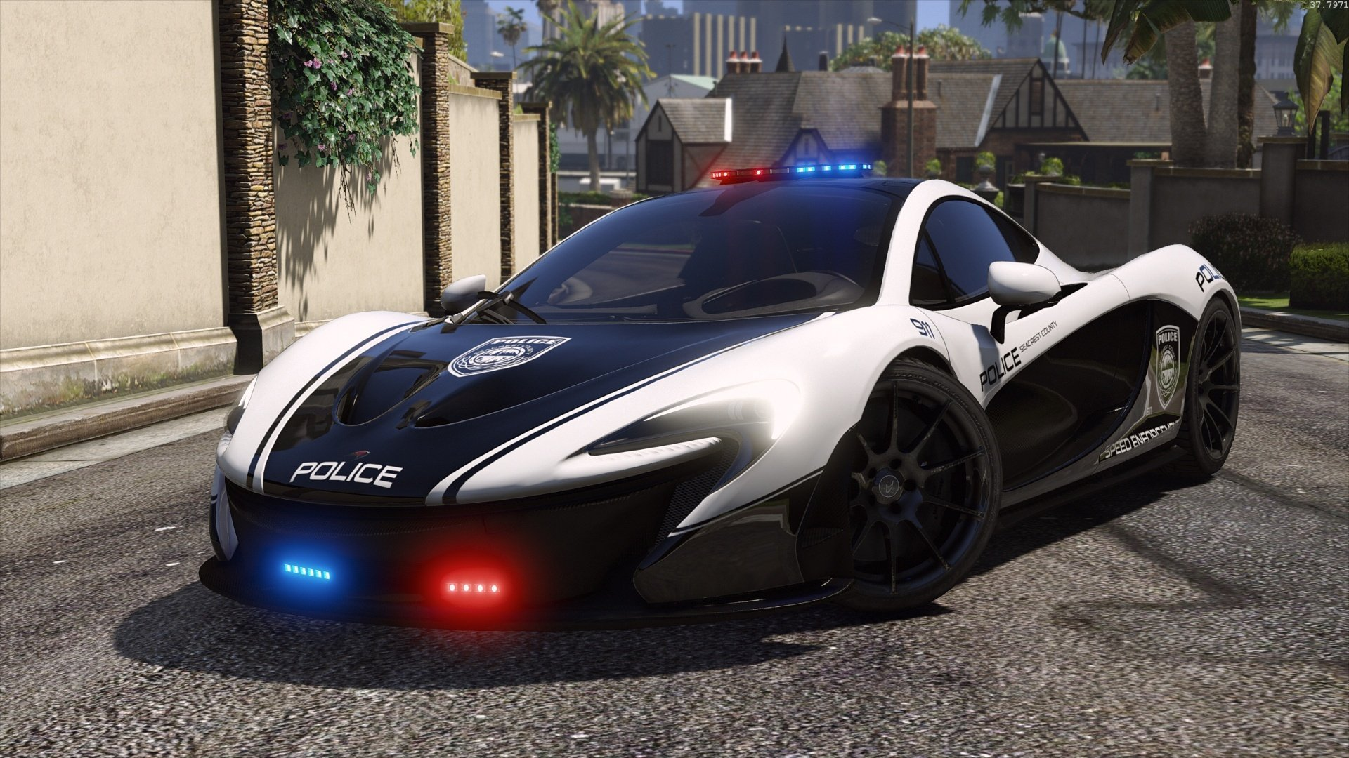 mclaren p1 hot pursuit police add on replace template gta5. Black Bedroom Furniture Sets. Home Design Ideas