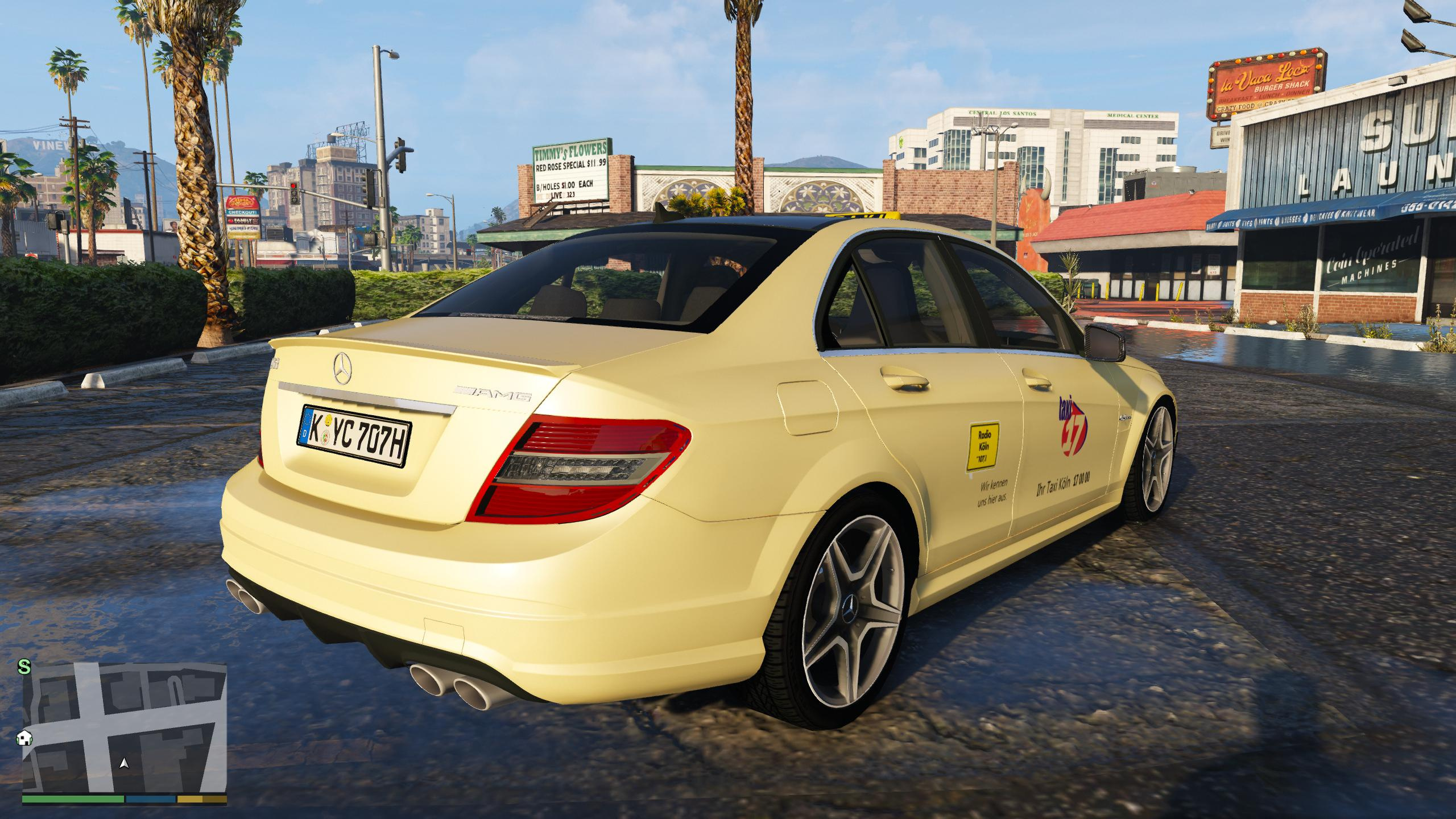 mercedes-benz c63 amg germany taxi - gta5-mods