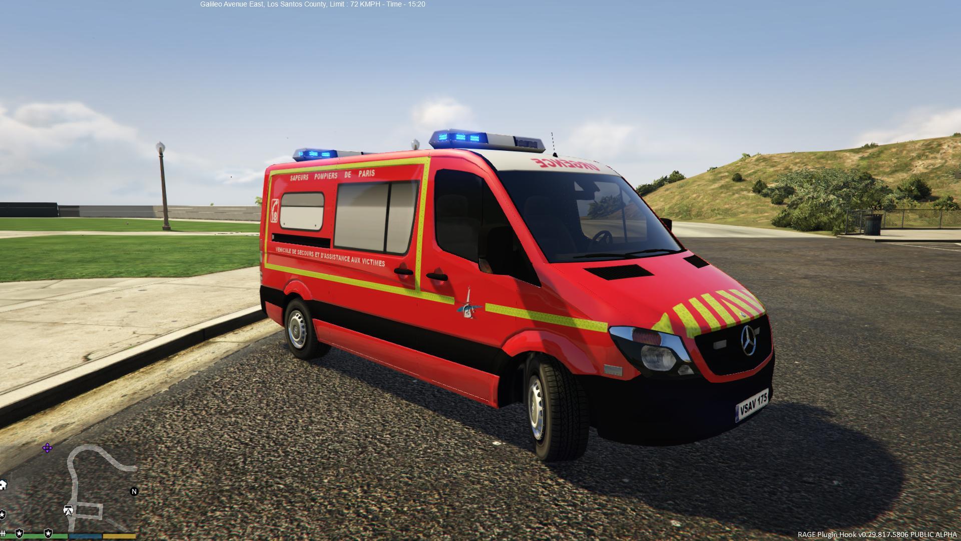 mercedes sprinter vsav sapeurs pompiers de paris gta5. Black Bedroom Furniture Sets. Home Design Ideas